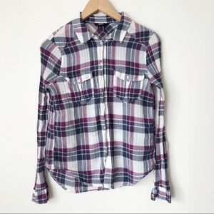 Paige Purple Plaid Flannel Button Down Shirt